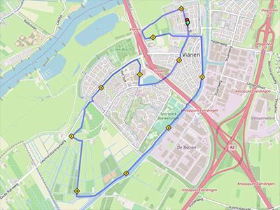 landkaartje met route 10km