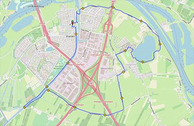 landkaartje met route 15km