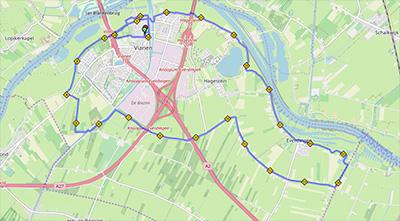 landkaartje met route 25km