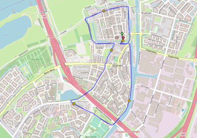 landkaartje met route 5km